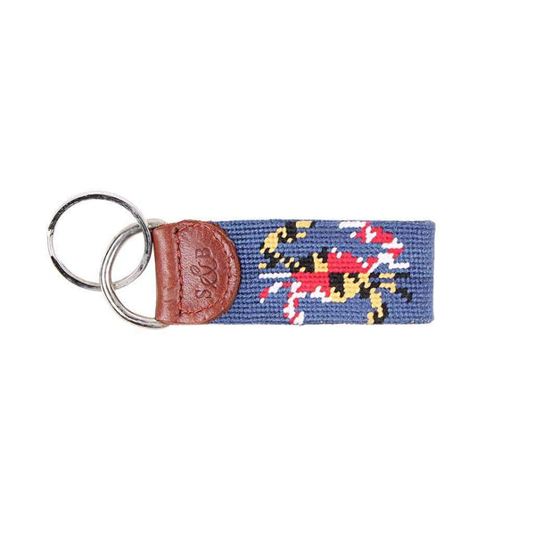 Smathers & Branson Maryland Flag Crab Needlepoint Key Fob in Classic Navy