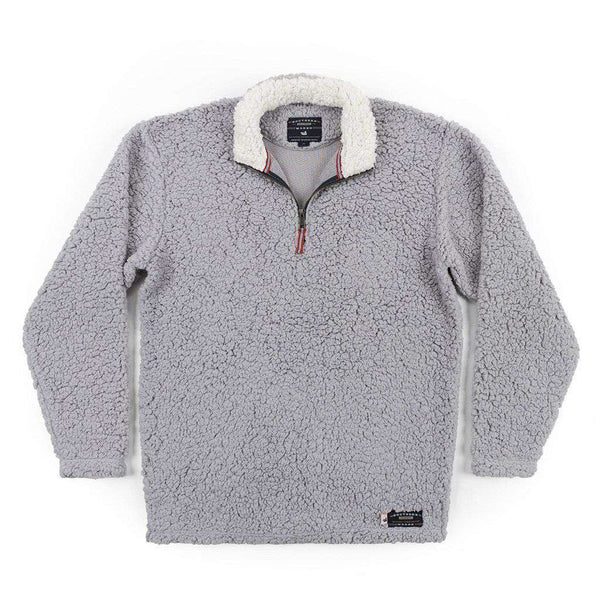 Southern Marsh Appalachian Pile Pullover 1/4 Zip in Light Gray