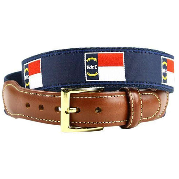 North Carolina Flag Leather Tab Belt in Navy on Navy Canvas by Country Club Prep