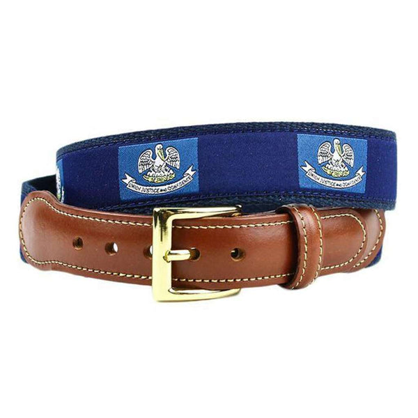 Louisiana Flag Leather Tab Belt in Navy on Navy Canvas by Country Club Prep