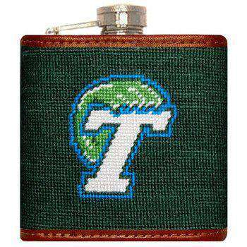 Flasks - Tulane Needlepoint Flask In Green By Smathers & Branson