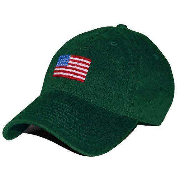 Hats/Visors - American Flag Needlepoint Hat In Hunter Green By Smathers & Branson
