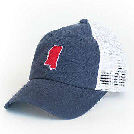 Hats/Visors - Mississippi Oxford Gameday Trucker Hat In Navy By State Traditions