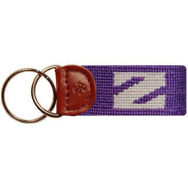 Key Fobs - Northwestern Needlepoint Key Fob In Purple By Smathers & Branson
