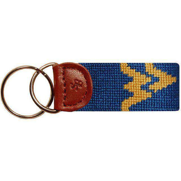 Key Fobs - West Virginia Needlepoint Key Fob In Navy By Smathers & Branson