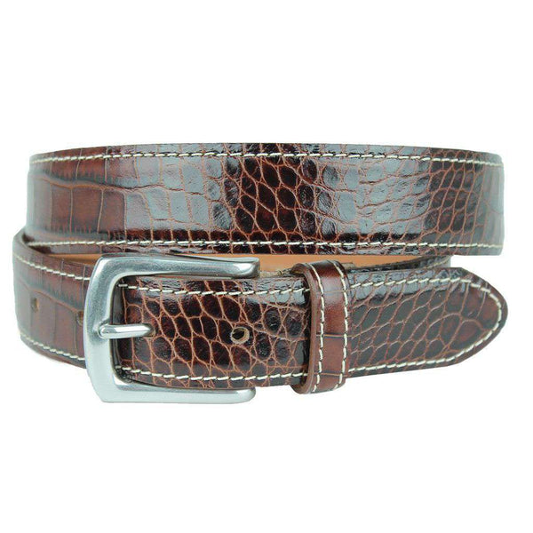 Men's Belts - El Paso Crocodile Leather Belt In Briar Brown By T.B. Phelps