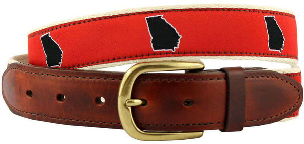 Men's Belts - GA Athens Gameday Leather Tab Belt In Red Ribbon With White Canvas Backing By State Traditions