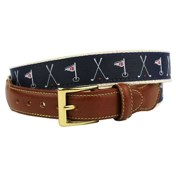 Judge Smails Golf Flags Leather Tab Belt in Navy by Country Club Prep