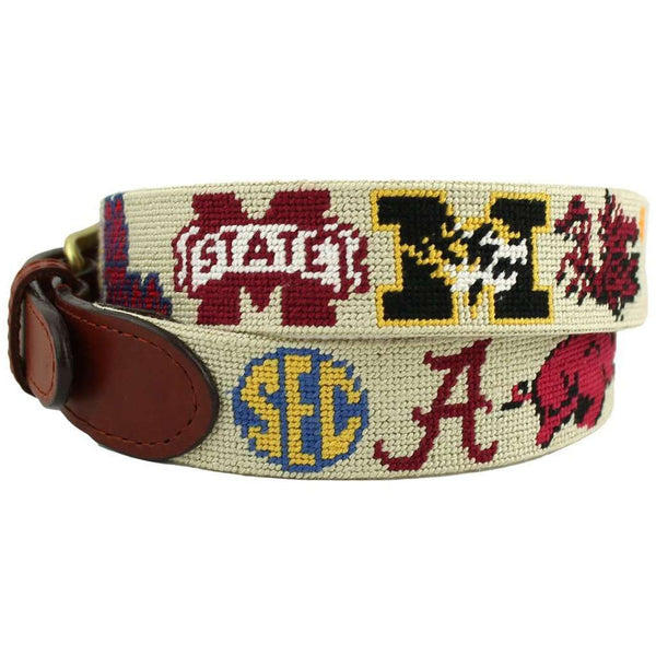 SEC Needlepoint Belt in Stone by Smathers & Branson