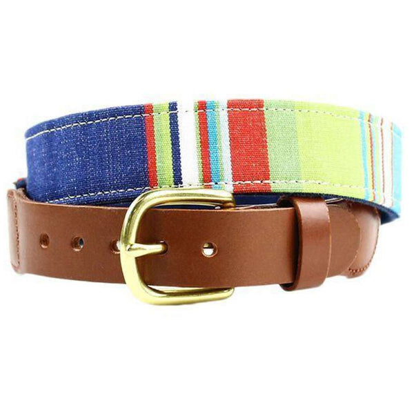 Squadren Stripe Leather Tab Belt in Waterpolo by Country Club Prep