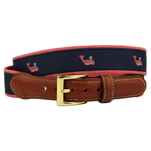 Surly Sperm Whale Leather Tab Belt in Navy by Country Club Prep