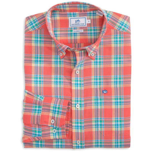 Men's Button Downs - Beaufain Plaid Sport Shirt In Sunset By Southern Tide