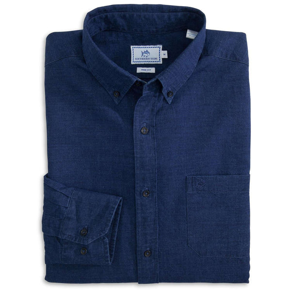Men's Button Downs - Logan End On End Sport Shirt In Indigo By Southern Tide