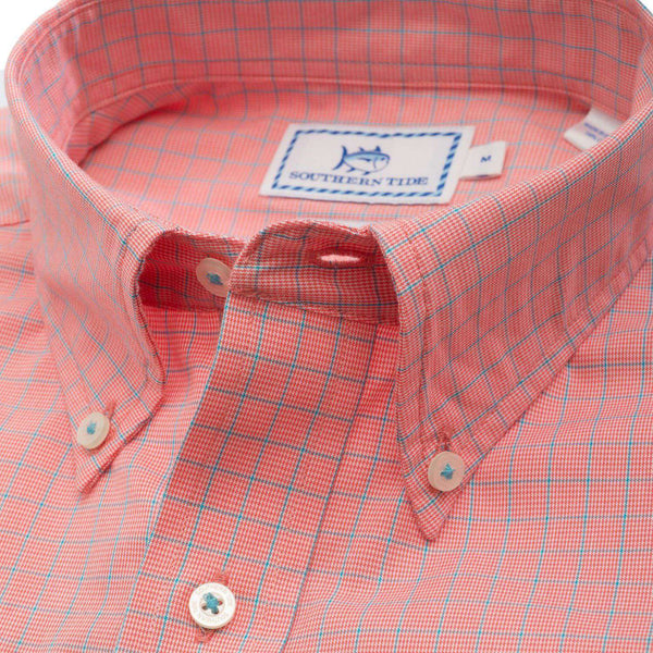 Men's Button Downs - South Of Broad Plaid Sport Shirt In Sunset By Southern Tide