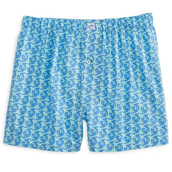 Men's Loungewear/Boxers - Batten Down Boxer In Aqua By Southern Tide