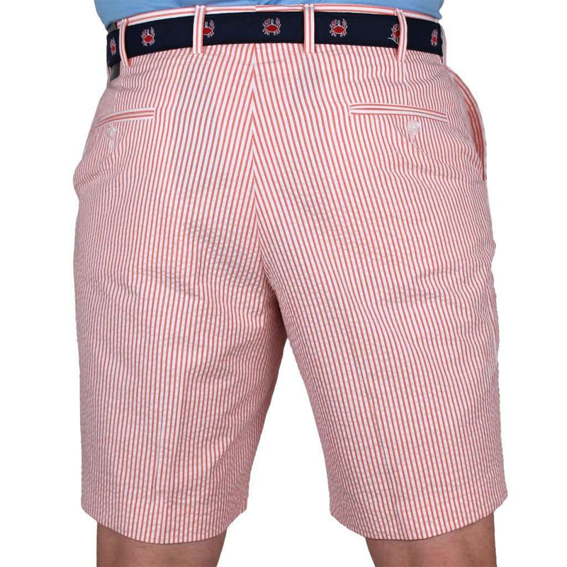 Men's Shorts - Orange Seersucker Shorts By Country Club Prep - FINAL SALE