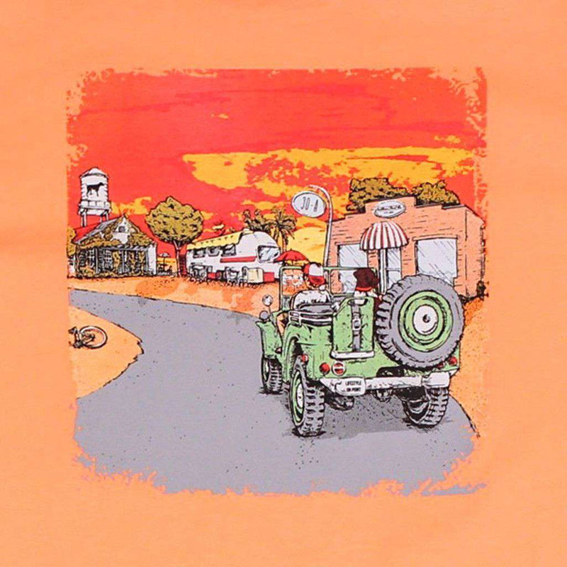 Men's Tee Shirts - Beach Jeep Tee In Coral Orange By Southern Point Co. - FINAL SALE