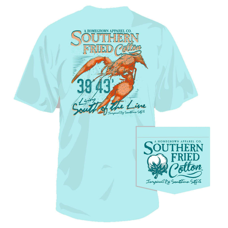 Men's Tee Shirts - Big Ole Crawdaddy Pocket Tee In Chalky Mint By Southern Fried Cotton