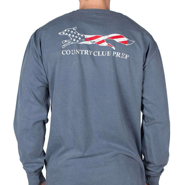 Men's Tee Shirts - Faded Flag Longshanks Long Sleeve Tee Shirt In Blue Jean By Country Club Prep