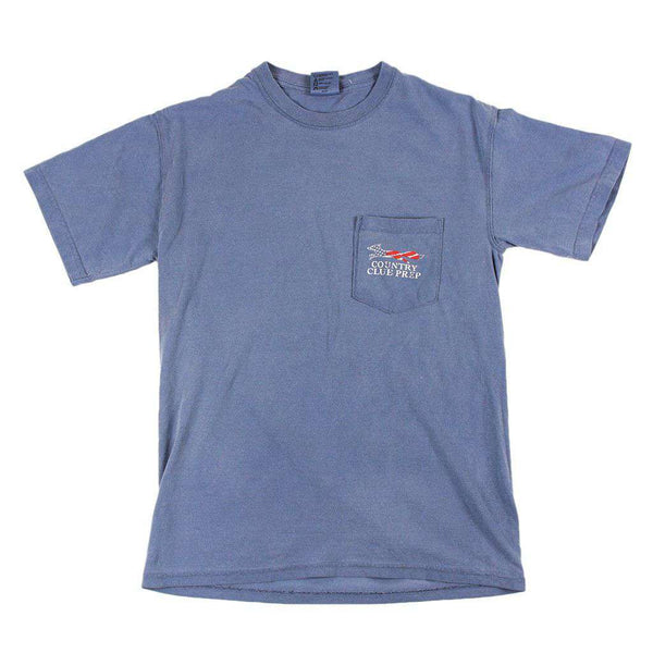 Men's Tee Shirts - Faded Flag Longshanks Tee Shirt In Blue Jean By Country Club Prep