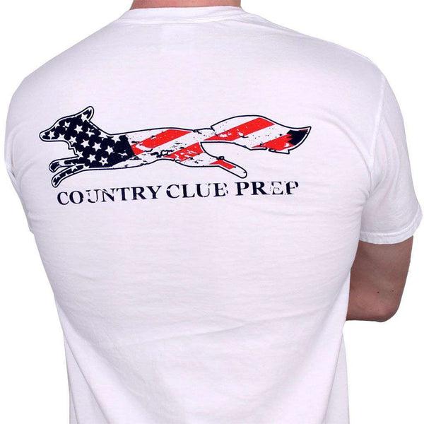 Men's Tee Shirts - Faded Flag Longshanks Tee Shirt In White By Country Club Prep