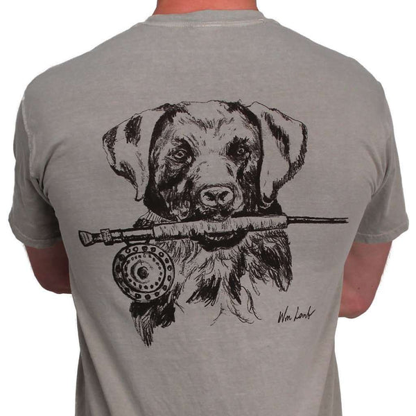 Men's Tee Shirts - Lab And Rod Original Watercolor Tee In Sandstone Grey By WM Lamb & Son