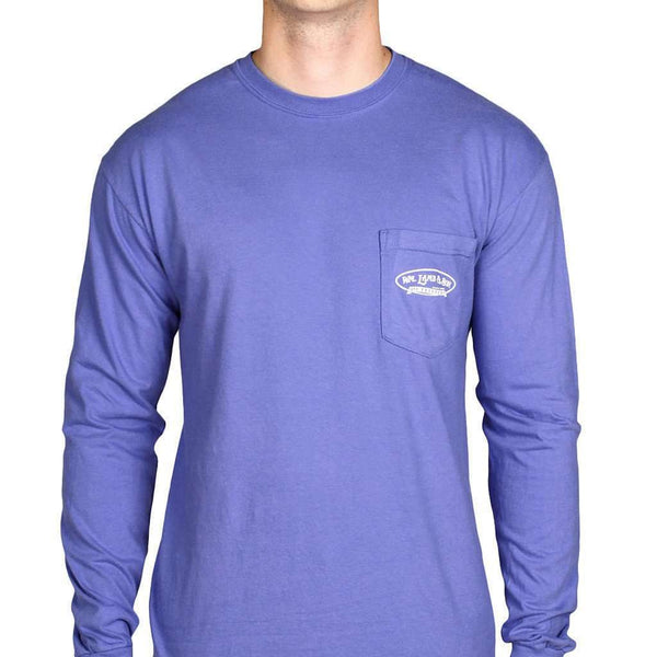 Men's Tee Shirts - Long Sleeve Pointer Pocket Tee In Mystic Blue By WM Lamb & Son