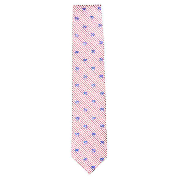 Neck Ties - Palm Tree Seersucker Neck Tie In Pink Coral By Southern Tide