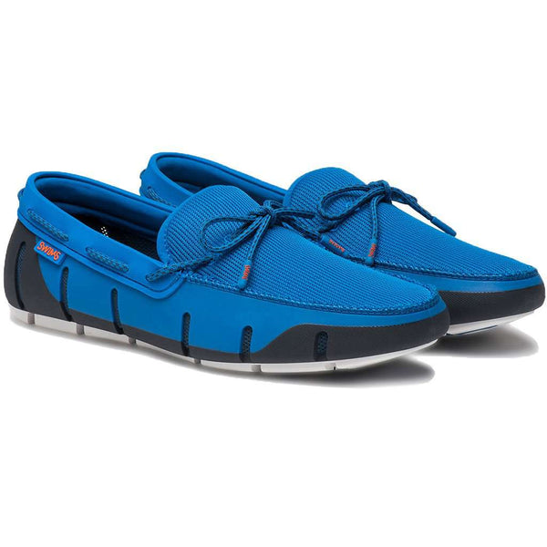 SWIMS Stride Lace Loafer in Blitz Blue, Navy & White Fleck
