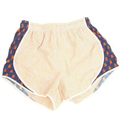 Women's Shorts - Auburn Seersucker Shorties In Orange/Navy By Lauren James