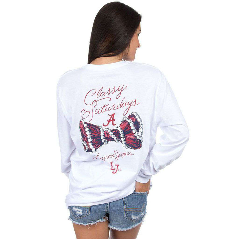Women's Tee Shirts - Alabama Classy Saturday Long Sleeve Tee In White By Lauren James