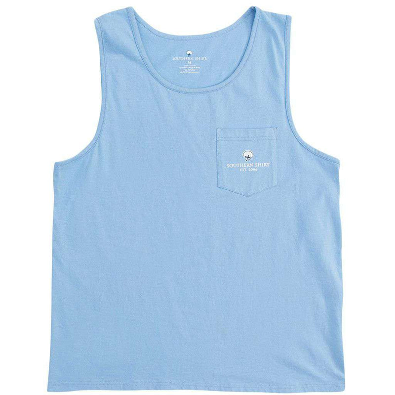 Women's Tee Shirts - American Twine Pocket Tank Top In Maui Blue By The Southern Shirt Co. - FINAL SALE