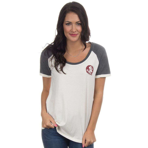 Women's Tee Shirts - Florida State Vintage Tailgate Tee In White And Heathered Grey By Lauren James - FINAL SALE
