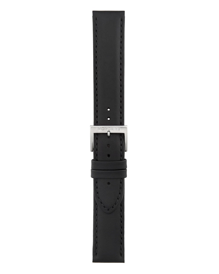 Helvetica No1 Bold Black Leather Strap - Mondaine