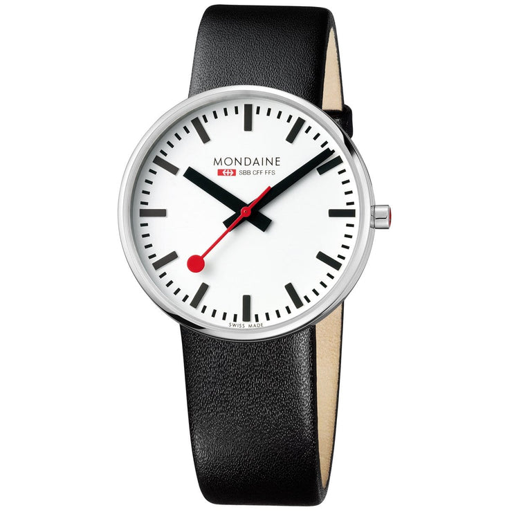 Mondaine Giant Backlight Official Swiss Railways Watch with a black leather Strap
