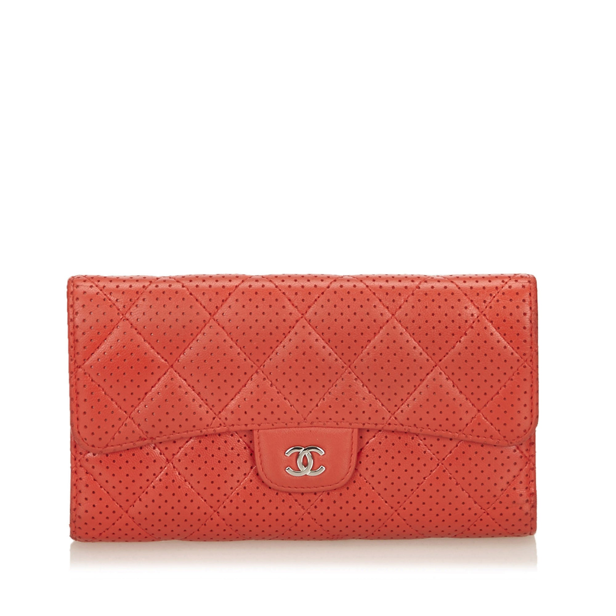 Red Perforated Flap Wallet