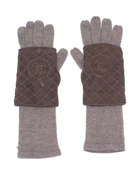 Brown Shearling and Cashmere Gloves