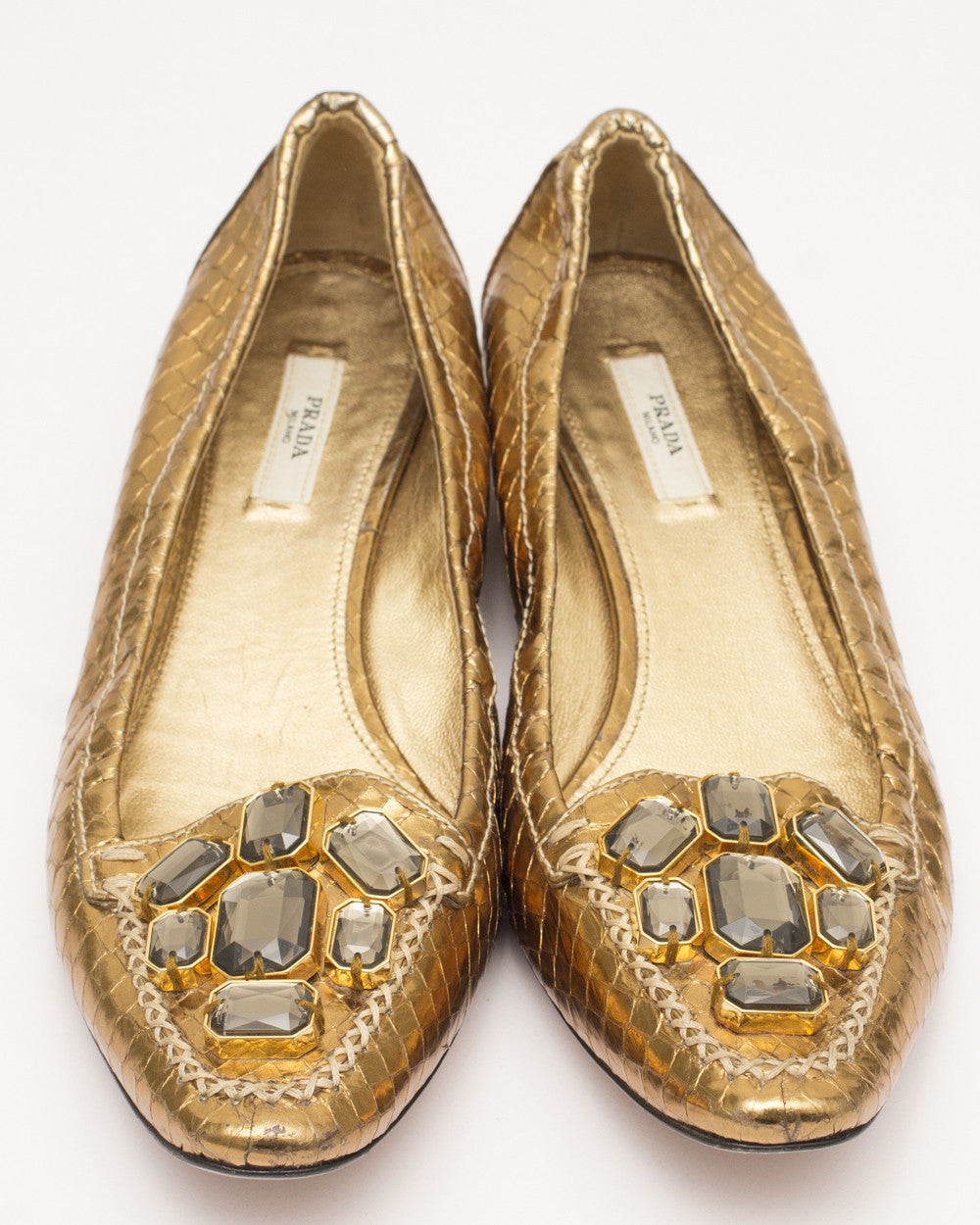 Gold Python Loafers