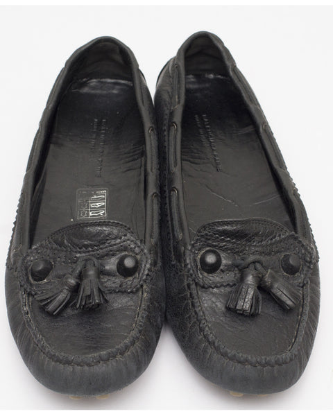 Black Leather Arena Driving Loafers