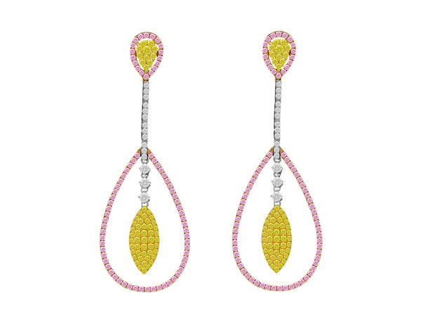 Pink, Yellow and White Diamond Pear Shaped Drop Earrings