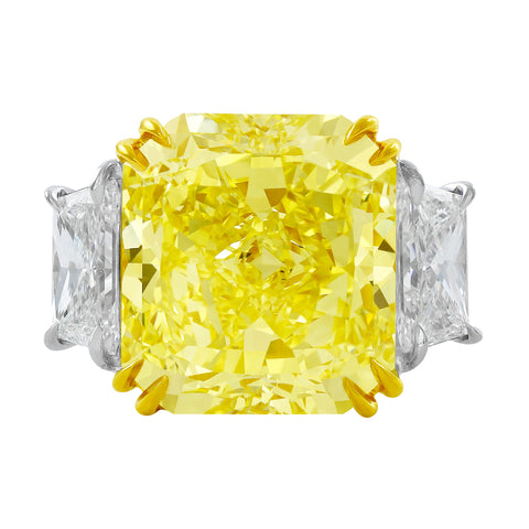15.05ct Fancy Intense Yellow Radiant Diamond Ring