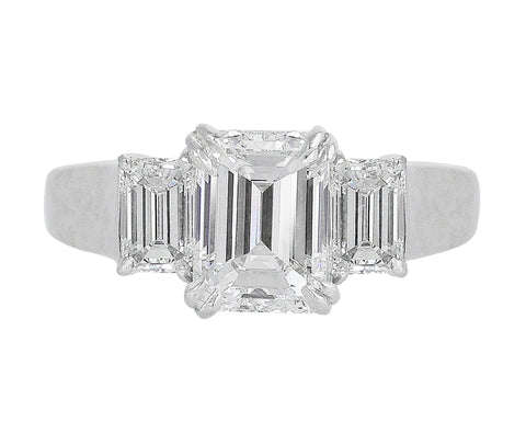 1.75ct Emerald Cut Three Stone Diamond Ring