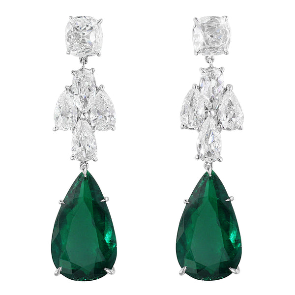 Colombian Natural Emerald and Diamond Drop Earrings