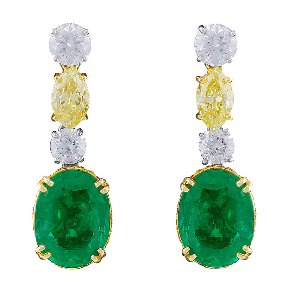 Natural Colombian Emerald and Fancy Color Diamond Earrings