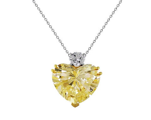 20ct Fancy Light Yellow Diamond Riviera Heart Necklace