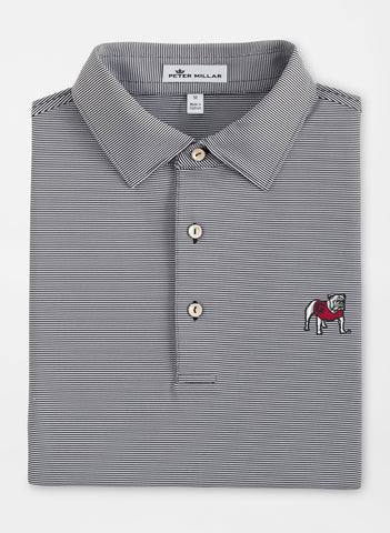 Peter Millar Jubilee Black Stripe Stretch Jersey Polo - Georgia