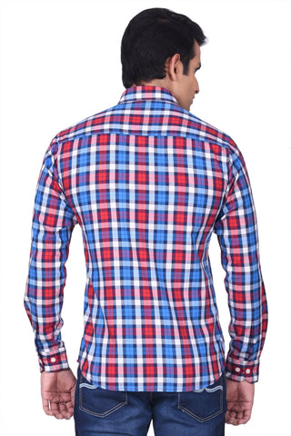 MOUSTACHE - SLIM FIT COTTON MEN'S SHIRT - RED/BLUE/WHITE