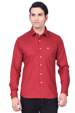 MOUSTACHE - SLIM FIT COTTON MEN'S SHIRT - MAROON