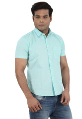 Moustache Slim Fit Mens Shirt-Sea Green