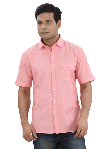 Moustache Slim Fit Mens Shirt-Pink